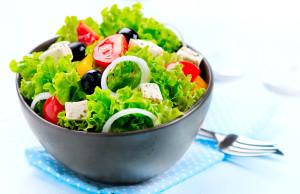 Salad. Greek Salad isolated on a White Background. Mediterranean