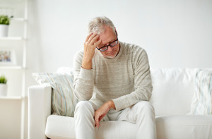 health, pain, stress, old age and people concept - senior man su