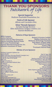 Thank You Patchwork of Life Sponsors